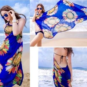 Blue BEACH cover up bathing suit wrap DRESS swim